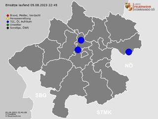 Einsätze der Feuerwehren in Oberösterreich